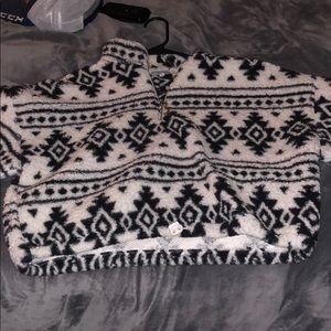Sweaters - Sherpa crop sweatshirt